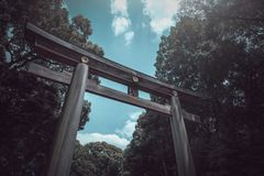Torii gate of Japanese temple in the spring on daytime in Tokyo stock images