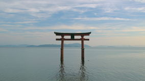 Torii Gate, Lake Biwa. Shirahige Shrine Torii Gate on Lake Biwa Shiga Japan stock video