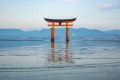 The Torii gate landmark of Japan in Miyajima Island.  stock photo