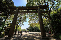Torii Gate at Meiji Jingu Stock Photo