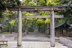 Torii Gate in Meiji Shrine forest in Tokyo, Japan Royalty Free Stock Photos