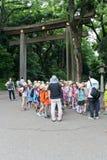 Torii Gate of Meiji Shrine in Tokyo Stock Photo