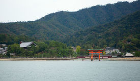 Torii gate in Miyajima, near Hiroshima, Japan Royalty Free Stock Photo
