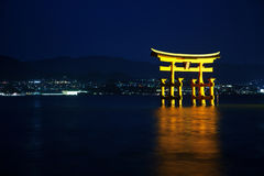Torii gate in Miyajima, by night Royalty Free Stock Photo