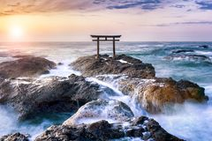 Shinto shrine with torii gate at sunrise, Ibaraki prefecture, Japan stock photography