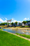 Torii Gate Takayama River Bridge Houses Daytime V Stock Photo