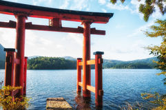 Torii Gate. The torii gate which stands on the shore of Lake Ashi, near Mount Fuji in Japan Royalty Free Stock Photos