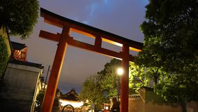 Torii Gate of Yasaka Shrine. Night timelapse of red Torii Gate of Yasaka Shrine of Kyoto, Japan, in spring season. Gion Shrine is one of most famous shrines stock video footage