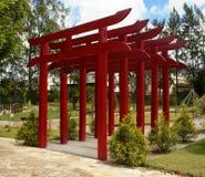 Torii gates. Garden with traditional Japanese Torii gates Stock Photos