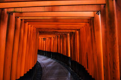 Torii gates at Fushimi Inari, Kyoto. Red torii gates at Fushimi Inari Shrine in Kyoto, Japan Royalty Free Stock Image