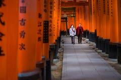Torii gates in Fushimi Inari Shrine Stock Images