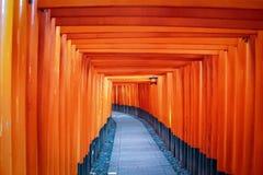 Torii gates in Fushimi Inari Shrine - Kyoto, Japan Stock Photo