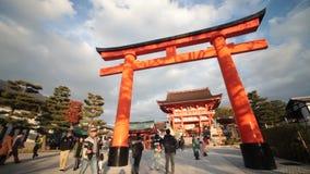 Torii gates in Fushimi Inari Shrine, Kyoto, Japan. Kyoto, Japan - Nov 23, 2013 : Torii gates in Fushimi Inari Shrine, Kyoto, Japan stock footage