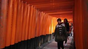 Torii gates in Fushimi Inari Shrine, Kyoto, Japan stock video footage