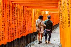 Torii gates of Fushimi Inari Shrine in Kyoto, Japan. Fushimi Inari Taisha is a shinto shrine, located in Fushimi-ku, Kyoto, Japan Stock Images