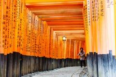 Torii gates of Fushimi Inari Shrine in Kyoto, Japan. Fushimi Inari Taisha is a shinto shrine, located in Fushimi-ku, Kyoto, Japan Royalty Free Stock Photos