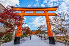 Torii gates at Fushimi Inari shrine in Kyoto Royalty Free Stock Photography