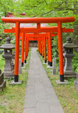 Torii gates of Hachiman Shinto Shrine, Akita, Japan. Corridor of red torii gates in Hachiman Akita Shinto Shrine in Akita, Japan. Located on the grounds of Stock Images