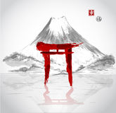 Torii gates hand-drawn with ink Royalty Free Stock Images