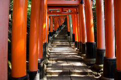Torii gates at Inari shrine in Kyoto. Torii Gates at the Fushimi Inari Taisha Shrine in Kyoto, Japan Royalty Free Stock Image