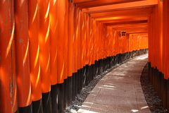 Torii gates, Japan. Kyoto, Japan - Fushimi-Inari Shrine torii gates. Japanese landmark Stock Image