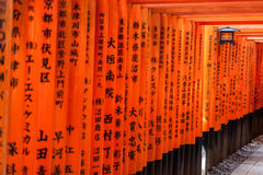 Torii gates in Kyoto, Japan Royalty Free Stock Images