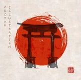 Torii gates and red rising sun stock illustration