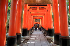 Torii gates of Fushimi Inari Shrine in Kyoto, Japan Stock Photos
