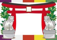 Torii and Guardian dog - Japanese shinto Frame royalty free illustration