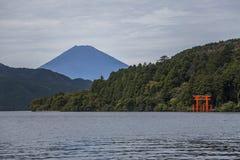 Torii of Hakone Shrine at Lake Ashi Royalty Free Stock Photography