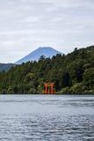 Torii of Hakone Shrine at Lake Ashi Stock Images