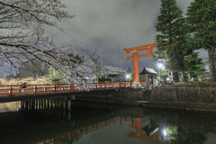Torii Heian Jingu with cherry blossom at night, Ky Stock Photography