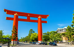 Torii of Heian Shrine in Kyoto Stock Images