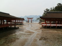 Torii and Itsukushima Shrine. During low tide Stock Photos