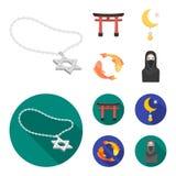Torii, karperkoi, vrouw in hijab, ster en halve maan Pictogrammen van de godsdienst de vastgestelde inzameling in beeldverhaal, v vector illustratie