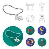 Torii, karperkoi, vrouw in hijab, ster en halve maan Pictogrammen van de godsdienst de vastgestelde inzameling in overzicht, vlak royalty-vrije illustratie