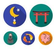 Torii, karperkoi, vrouw in hijab, ster en halve maan Pictogrammen van de godsdienst de vastgestelde inzameling in de vlakke voorr vector illustratie
