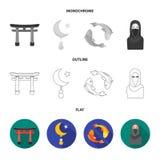 Torii, karperkoi, vrouw in hijab, ster en halve maan Pictogrammen van de godsdienst de vastgestelde inzameling in vlakte, overzic stock illustratie