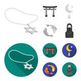 Torii, karperkoi, vrouw in hijab, ster en halve maan Pictogrammen van de godsdienst de vastgestelde inzameling in zwart-wit, vlak vector illustratie