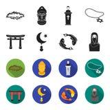 Torii, karperkoi, vrouw in hijab, ster en halve maan Pictogrammen van de godsdienst de vastgestelde inzameling in zwarte, flet st stock illustratie