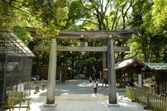 Torii leading to the Meiji Shrine park, located in Shibuya, Tokyo. Tokyo, Japan, 2rd, June, 2017. Torii leading to the Meiji Shrine park, located in Shibuya stock photos