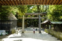 Torii leading to the Meiji Shrine park, located in Shibuya, Tokyo. Tokyo, Japan, 2rd, June, 2017. Torii leading to the Meiji Shrine park, located in Shibuya royalty free stock photo