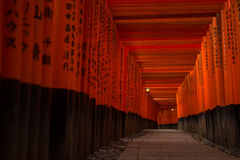 walkway under the red gates Royalty Free Stock Images