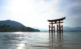 Torii monument in Miyajima, japan. Royalty Free Stock Images
