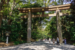 Torii port på Meiji Jingu Arkivbild