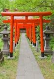 Torii portar av den Hachiman Shintorelikskrin, Akita, Japan Arkivbilder