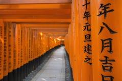 Torii portar i Fushimi Inari förvarar, Kyoto, Japan Royaltyfri Fotografi