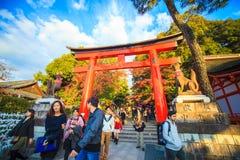 Torii portar i Fushimi Inari förvarar, Kyoto, Japan Fotografering för Bildbyråer