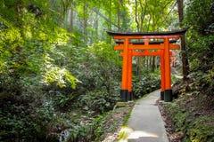 Torii portar i Fushimi Inari förvarar - Kyoto, Japan Arkivfoto