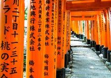 Torii portar på Fushimi-Inari relikskrin 1 Arkivfoto